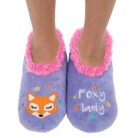 Foxy Lady Snoozies Slippers Fleece Soft Sole Splitz Applique